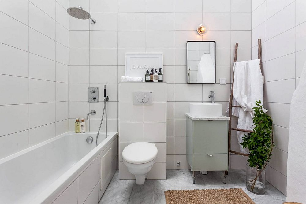 Bright white bathroom for the Scandinavian apartment