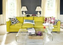 Bright yellow sofa for the living room in neutral hues