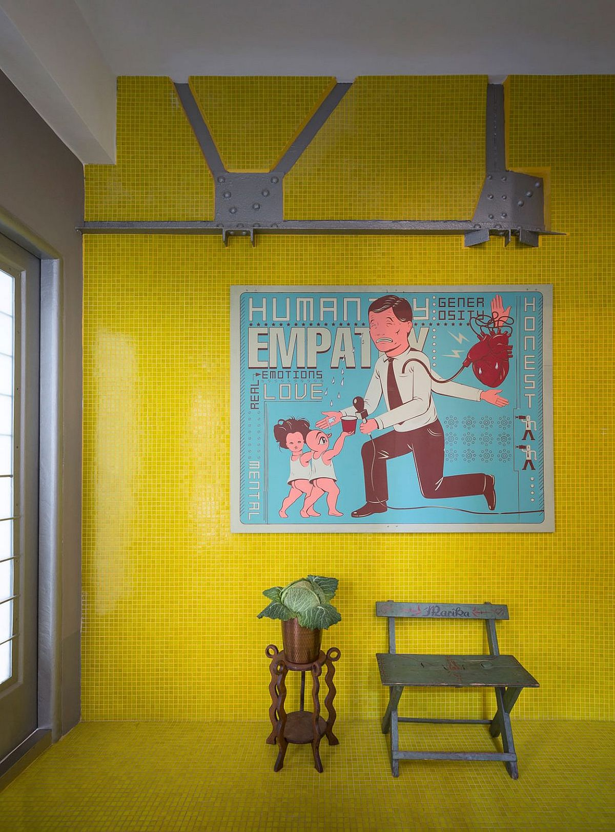 Bright yellow tiles give the interior a quirky look