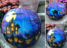 Brilliant and spooky haunted house painted pumpkin idea