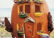 Carefully carved Housed pumpkin is set to become the showstopper among all your Halloween decorations [From: Good Housekeeping]