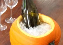 Carved wine cooler pumpkin for a fun Halloween [From: Cheryl Style]