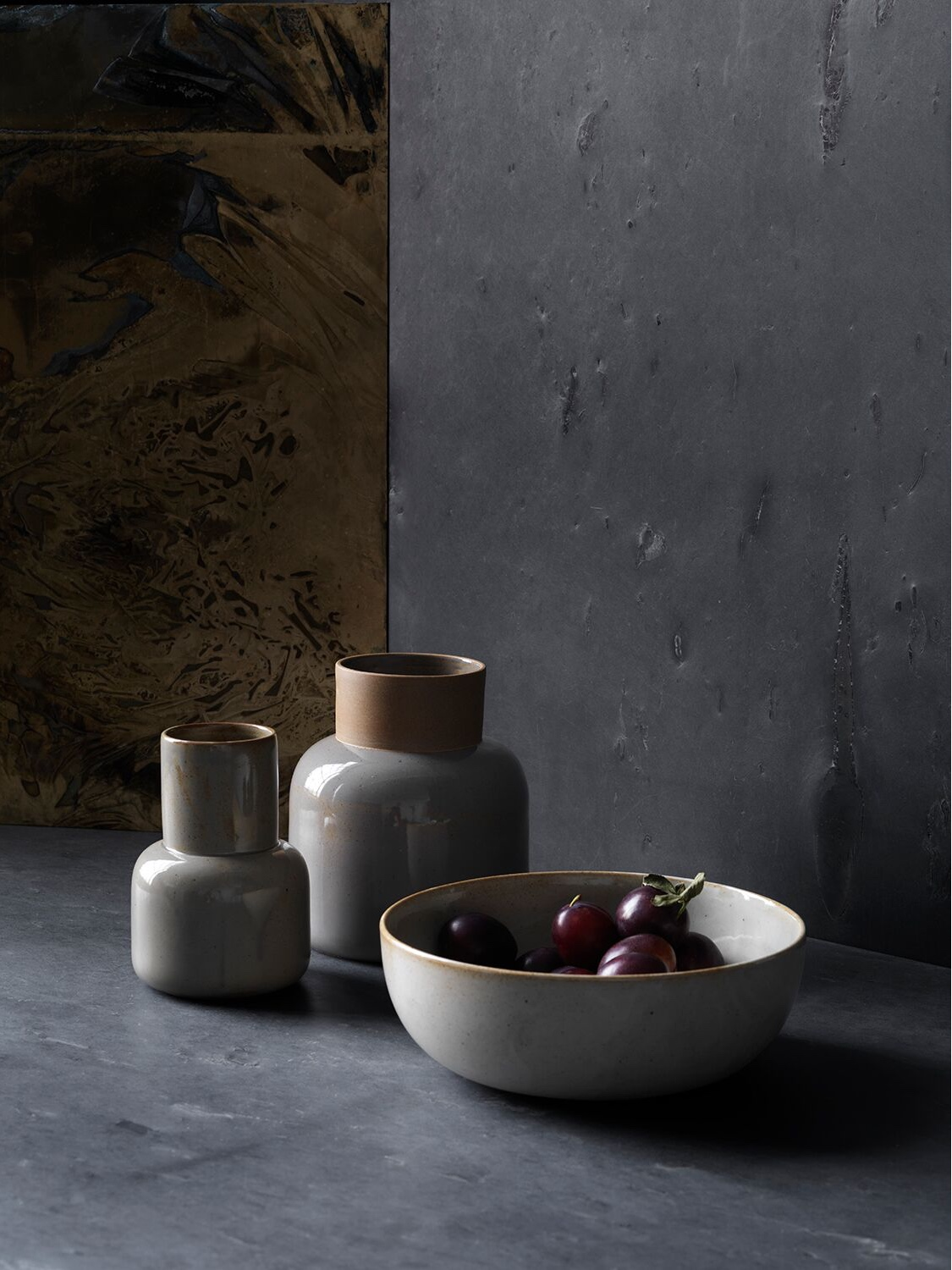 Earthenware vases and bowl by Cecilie Manz for Objects.