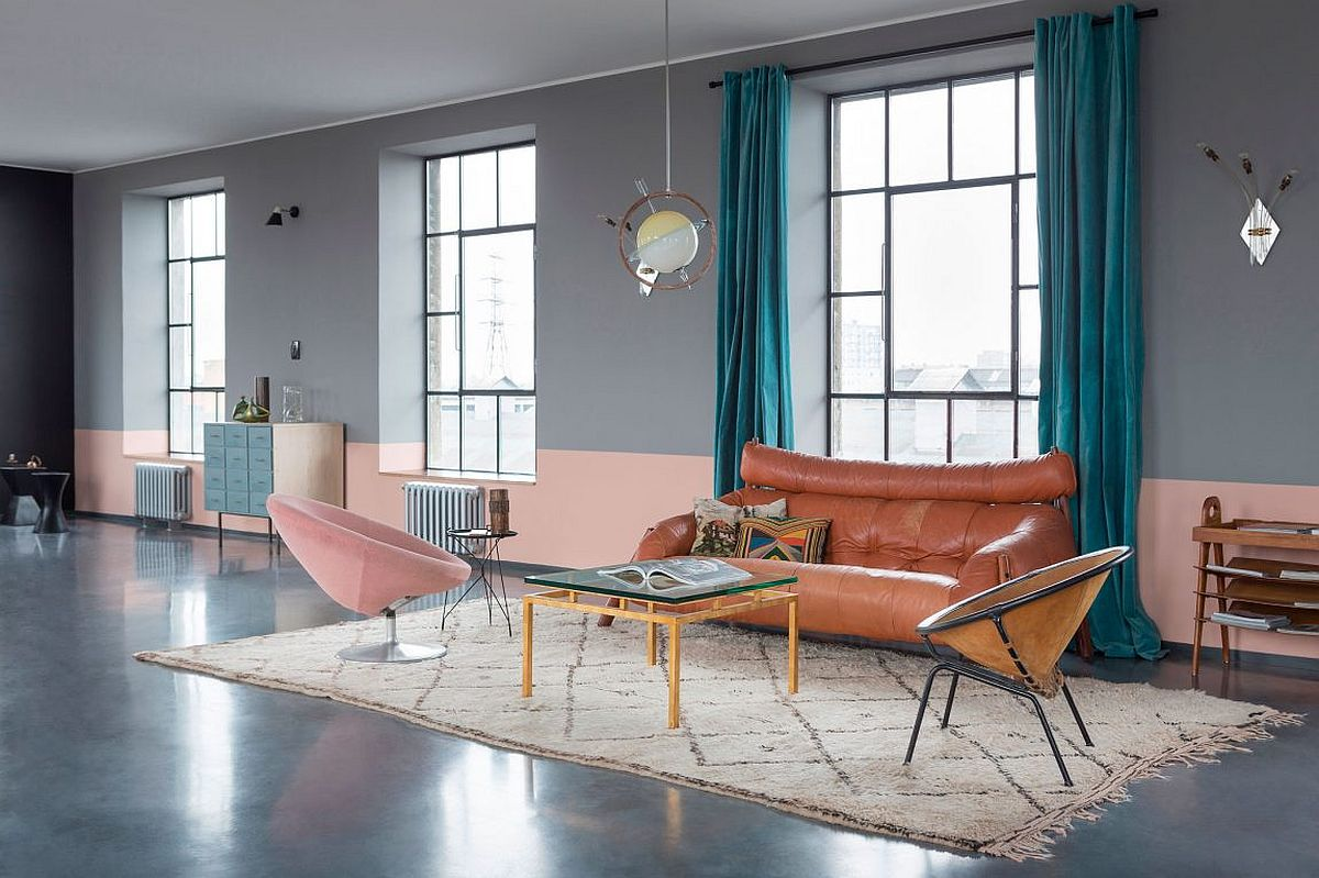 Chic and retro touches in the living room are accentuated by pastel pink and gray