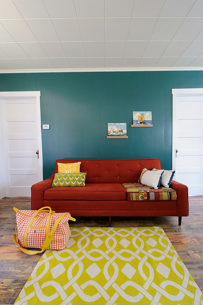 ... Chic eclectic living room with bright red sofa [Design: Sarah Phipps  Design]