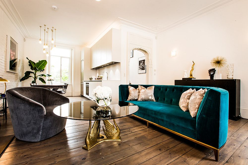... Classic Midcentury Living Room With Couch In Velvety Blue And Gold [ Design: Jino Design