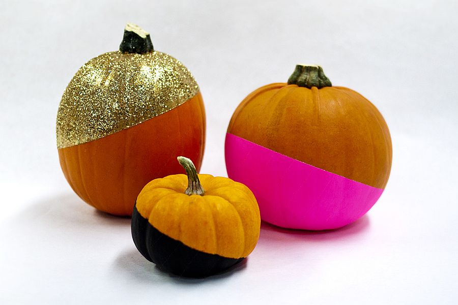 Color dipped pumpkins with golden glint for a cool Halloween! [From: Brit + Co]
