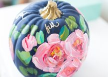Colorful and vivacious hand-painted floral pumpkin
