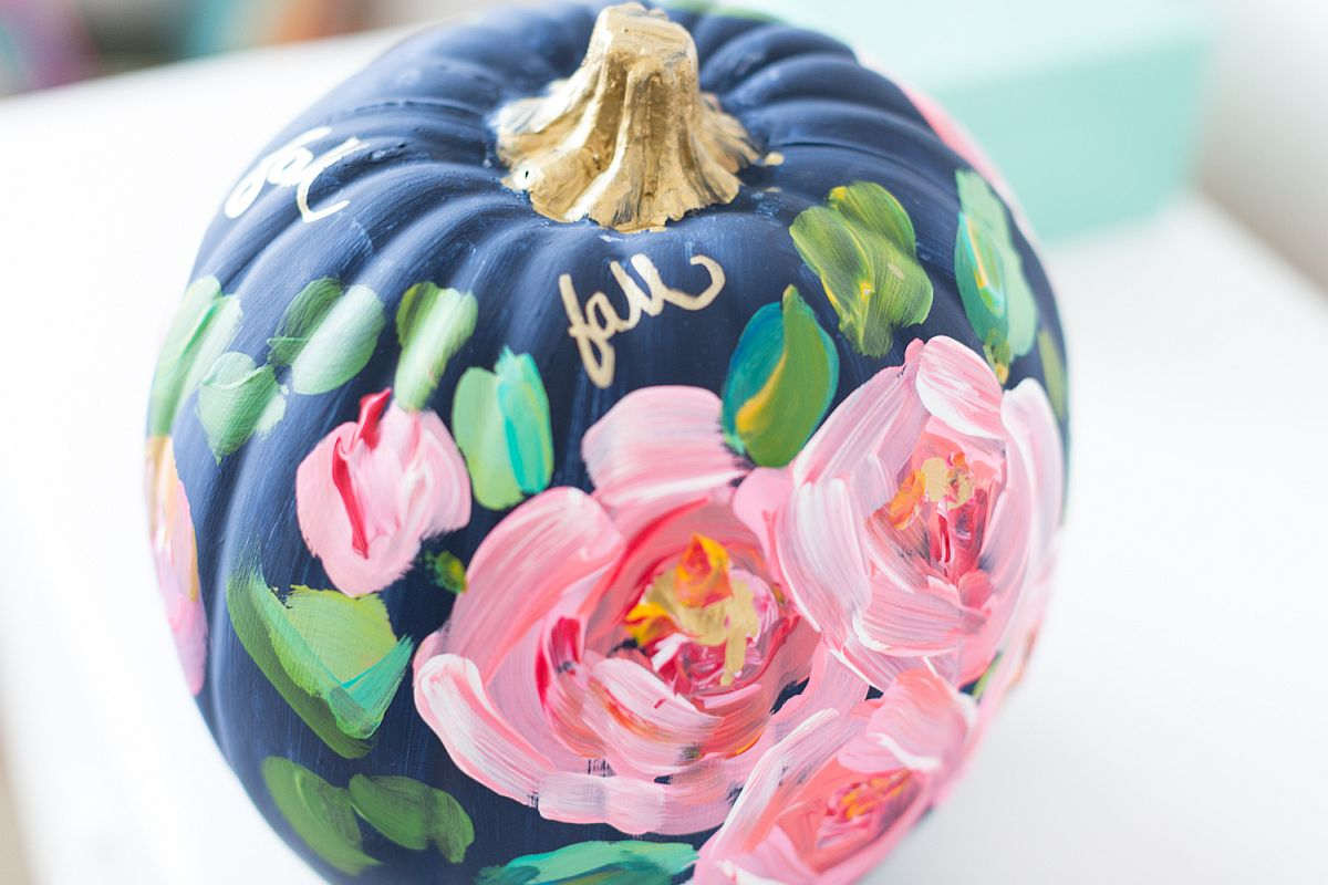 Colorful and vivacious hand-painted floral pumpkin [From: Craftberry Bush]