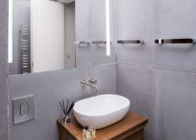 Concrete tiles give the modern bathroom a cool and relaxed appeal