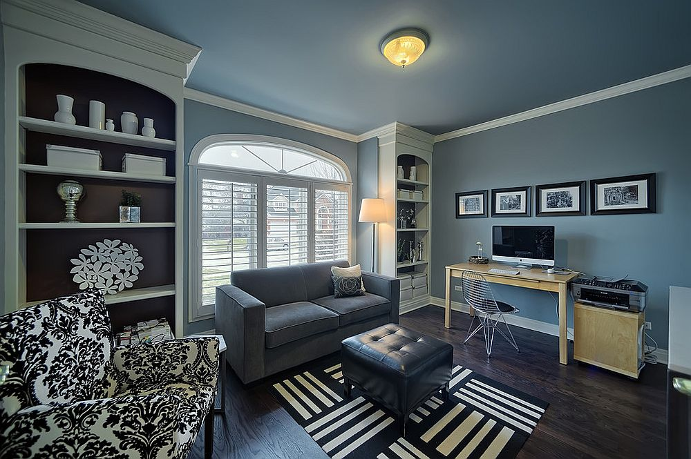 Contemporary home office in blue and gray with ample shelf space [Design: Just the Thing Decorating, Staging, and Windows]