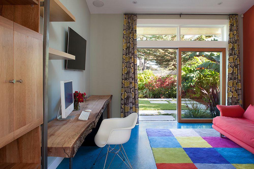 Contemporary home office with live edge desk [Design: Feldman Architecture]