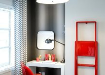 Contemporary home workspace in gray with a hint of red