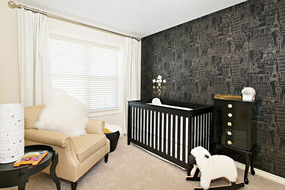 Cool wallpaper, crib and decor bring black to the white nursery [Design: Sabal Homes]