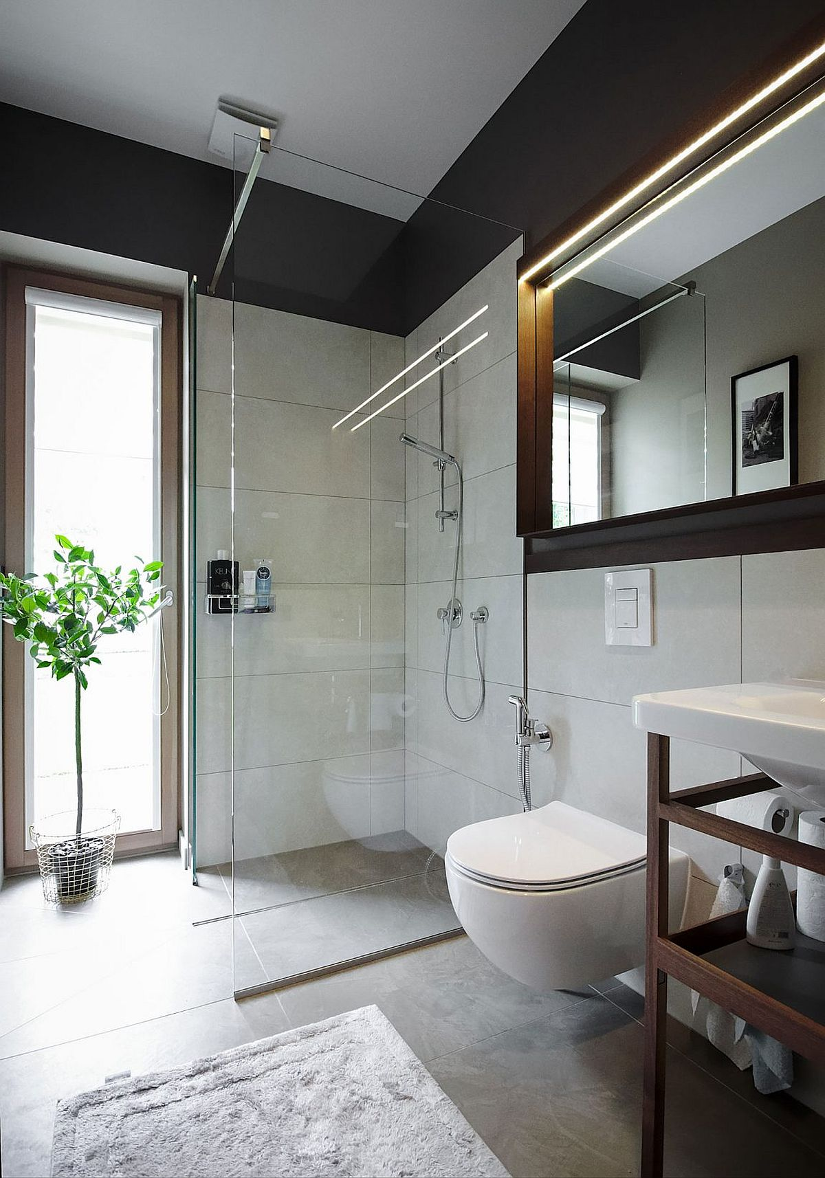Corner glass shower area for the bathroom in white