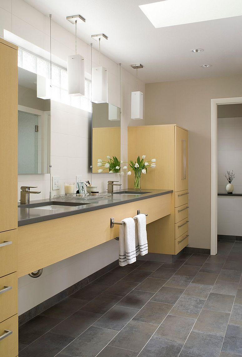 Custom designed cabinets bring yellow to the contemporary bathroom [Design: Hart STUDIO LLC]