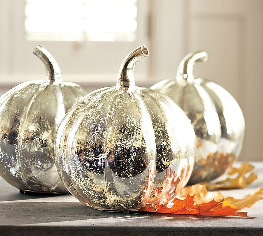 DIY Mercury glass pumpkins offer all the glitter you need to enliven that Halloween decoration