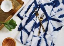 DIY Shibori napkins from A Beautiful Mess 217x155 Indigo Style: All About Shibori Dyeing
