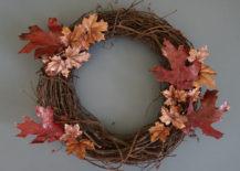 DIY fall wreath with foliage