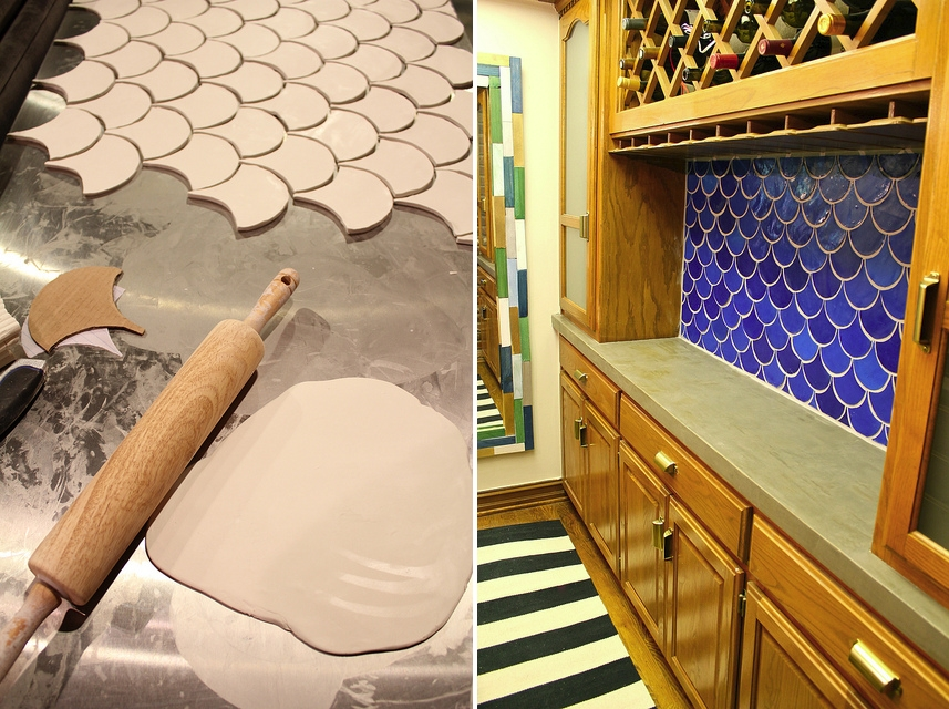 DIY fish scale tile backsplash