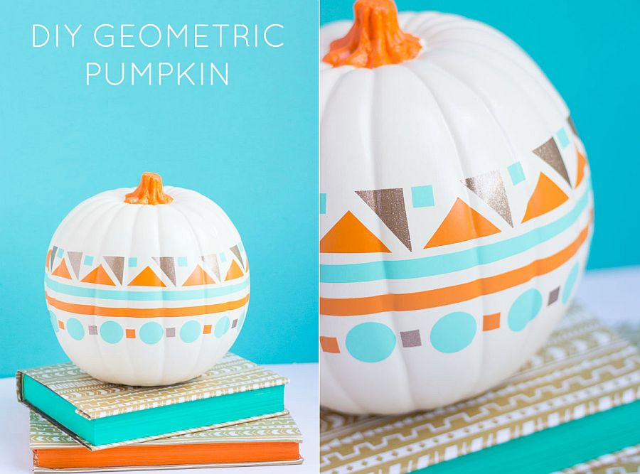 DIY geometric pumpkin design using just paint [From: Design Improvised]