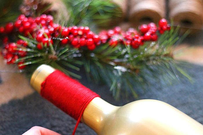 DIY holiday wine bottle idea