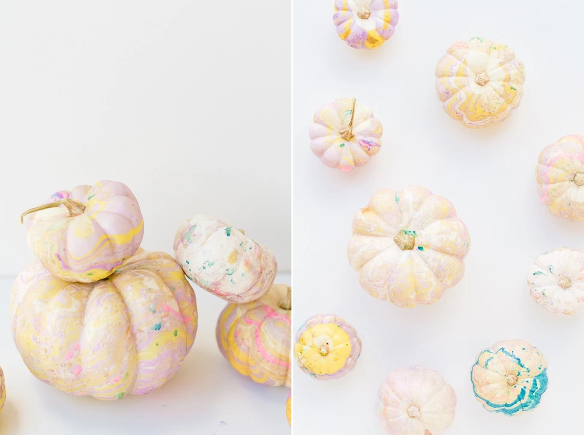 DIY marbled pumpkins from Proper