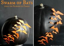 DIY pumpkin with a swarm of orange bats!