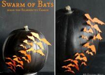 DIY-pumpkin-with-a-swarm-of-orange-bats-217x155
