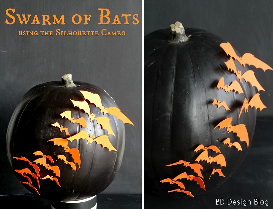 DIY pumpkin with a swarm of orange bats! [From: painted confetti]