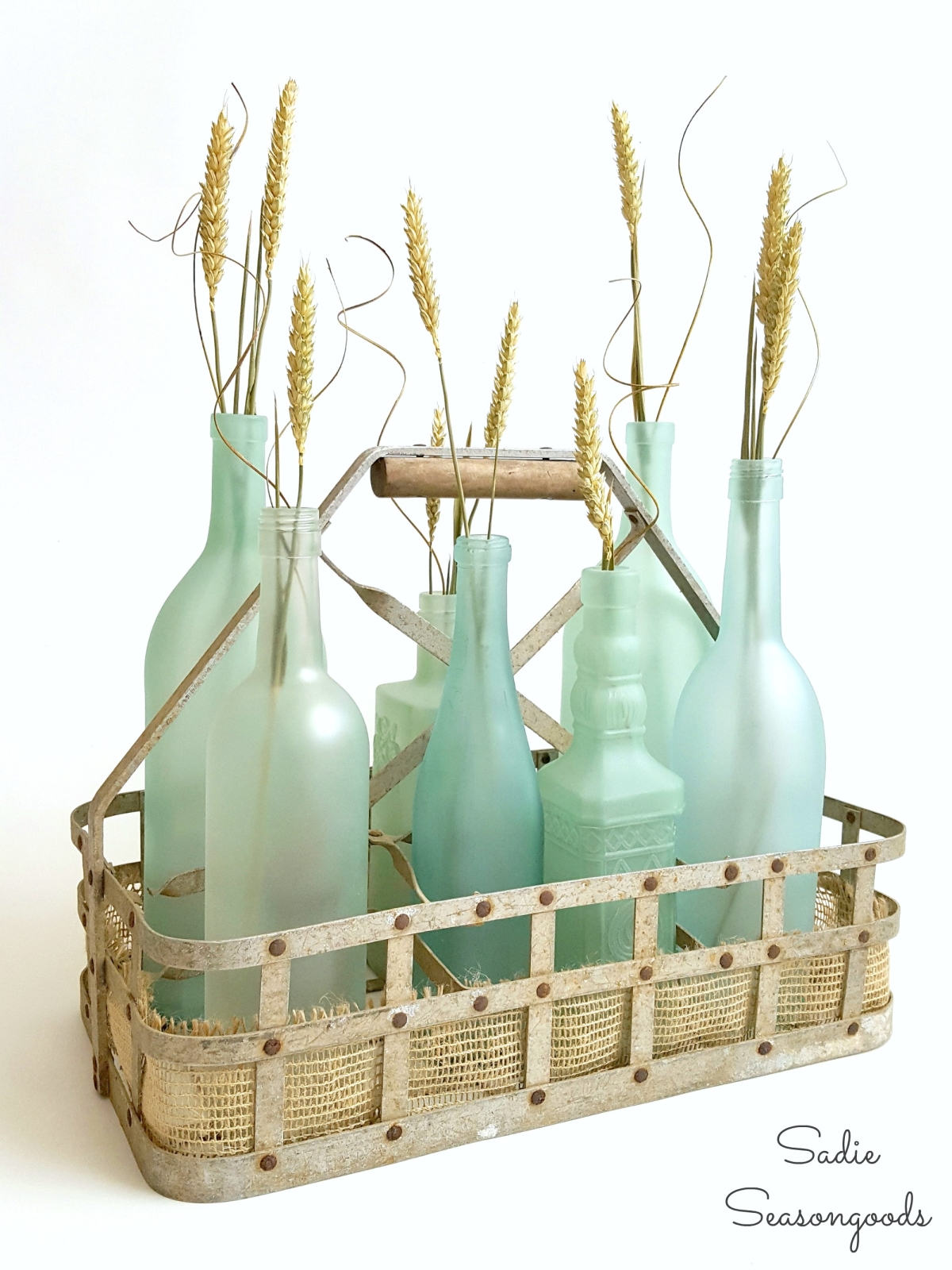 DIY sea glass wine bottle centerpiece