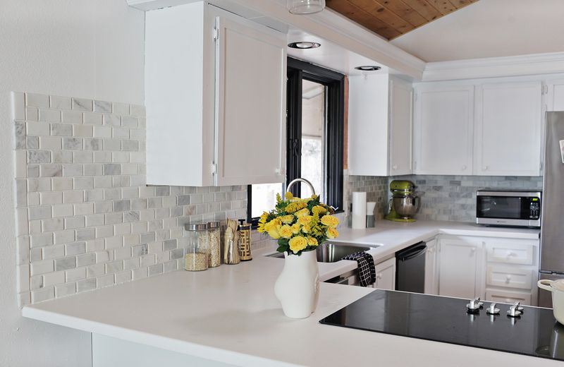 DIY tile backsplash from A Beautiful Mess