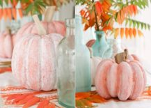 DIY whitewashed pumpkin with driftwood stem