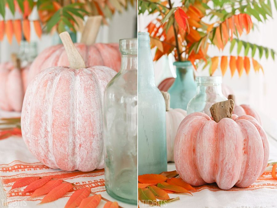 DIY whitewashed pumpkin with driftwood stem [From: tidbits-cami]