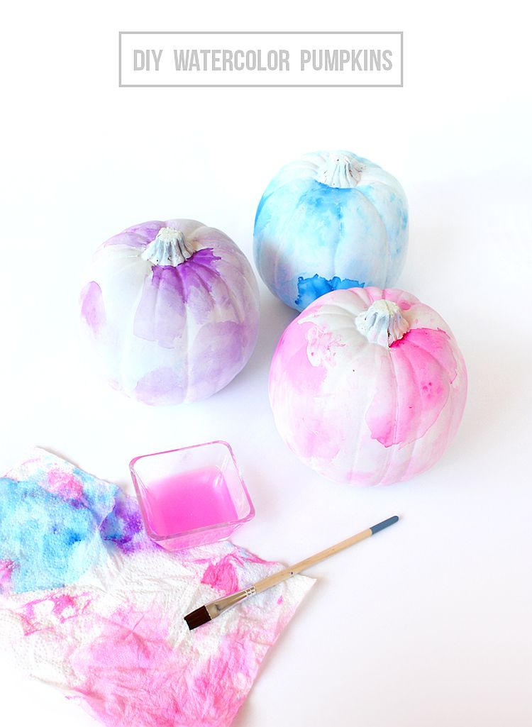 DIY watercolor pumpkins for those who love pastel hues [From: Lines Across]