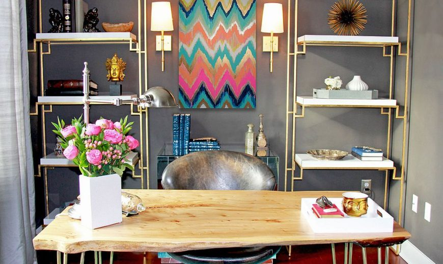 20 Colorful Ways to Enliven Your Gray Home Office