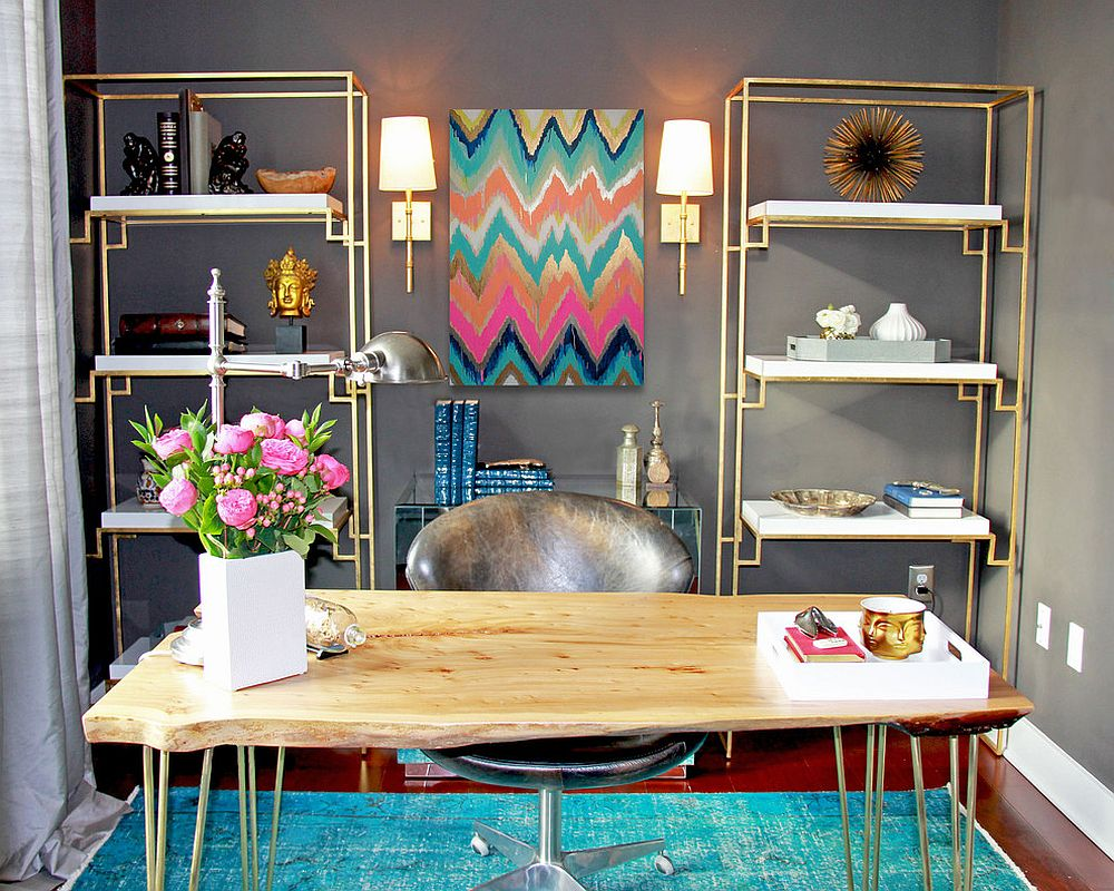 Dashing contemporary home office blends gray with colorful zest [Design: K&L Interiors]