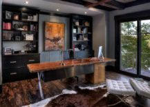 Dashing-home-office-in-gray-with-black-shelves-cabinets-and-a-live-edge-table-217x155
