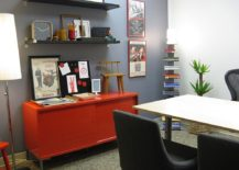 Dashing red credenza steals the show in this home office