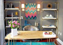 Delightful-contemporary-home-office-with-blue-rug-gray-walls-and-a-live-edge-table-217x155