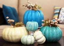 Colorful pumpkin centerpiece for Halloween and fall dinner table [From: Craftshub]