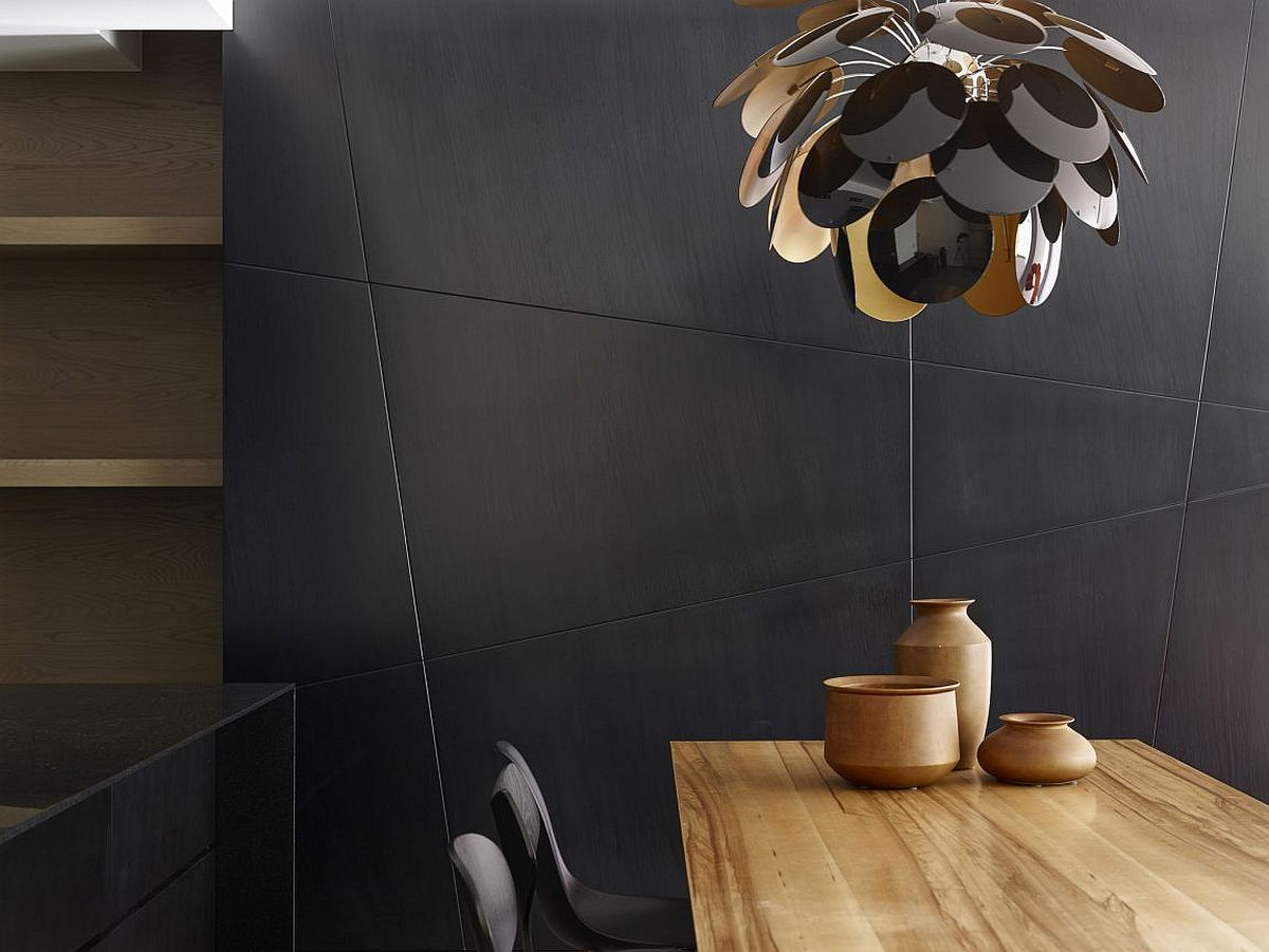 Design of the dining room pendant mimics that of a flower