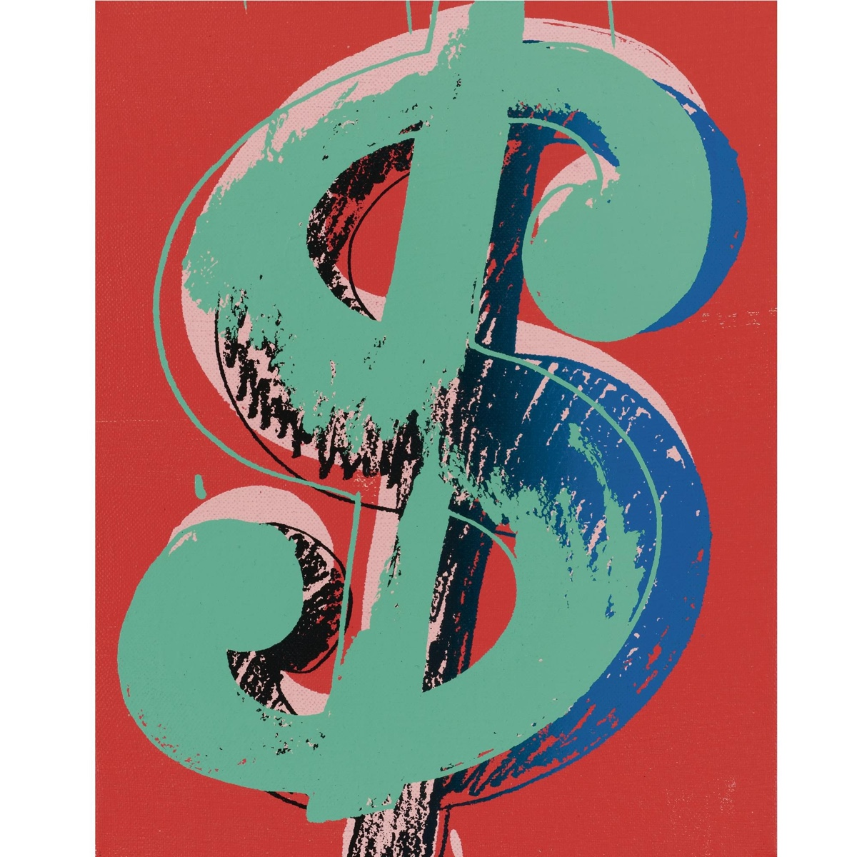 This is just one of a series of drawings and paintings of the Dollar Sign by Andy Warhol.