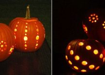 Drilled and lit pumpkins for a fun Halloween