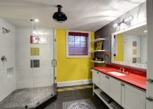 Eclectic bathroom in gray and yellow