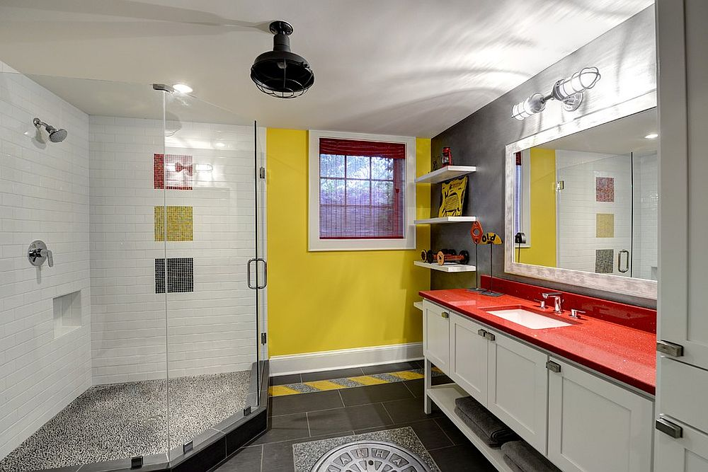 Eclectic bathroom in gray and yellow [Design: The Consulting House]