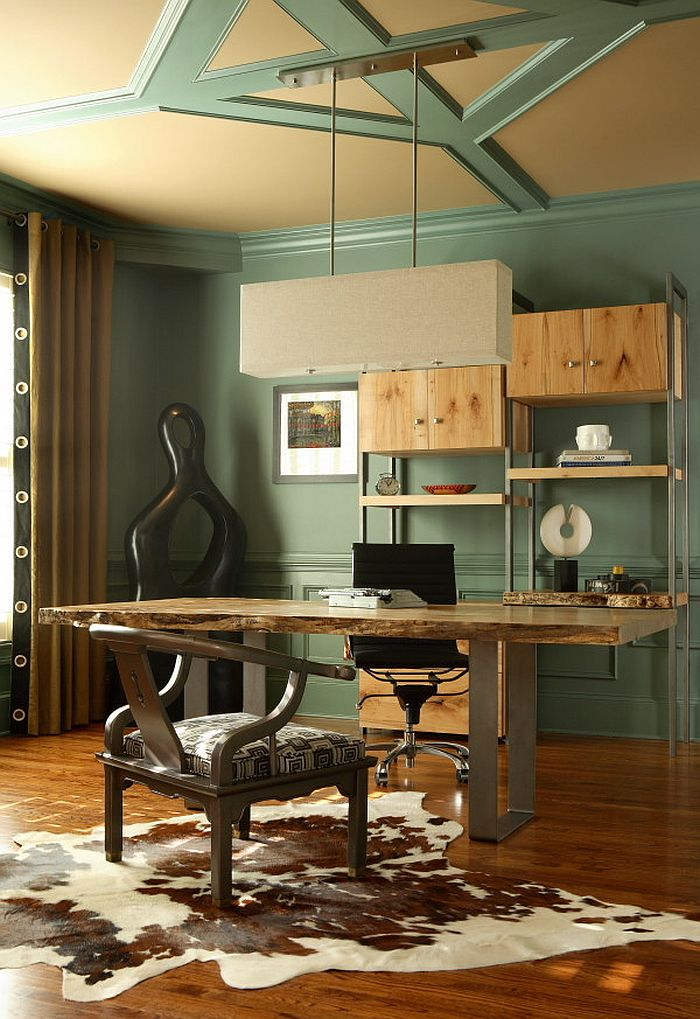 Eclectic home office with cool shelving and smart desk [Design: Design Theory Interiors of California]