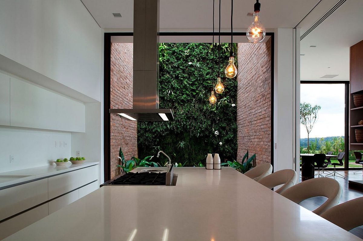 Edison bulbs and exposed brick walls give the interior a subtle industrial touch