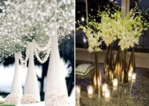 Elegant wine bottle vase centerpieces