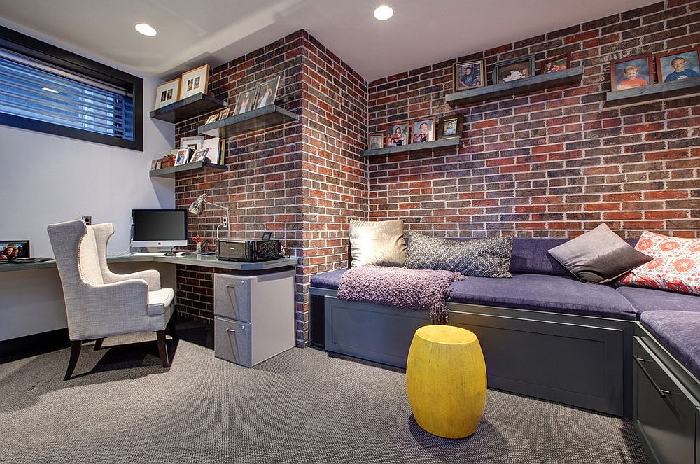 ... Exposed Brick Walls Are A Cool Way To Add Red To The Contemporary Home  Office [